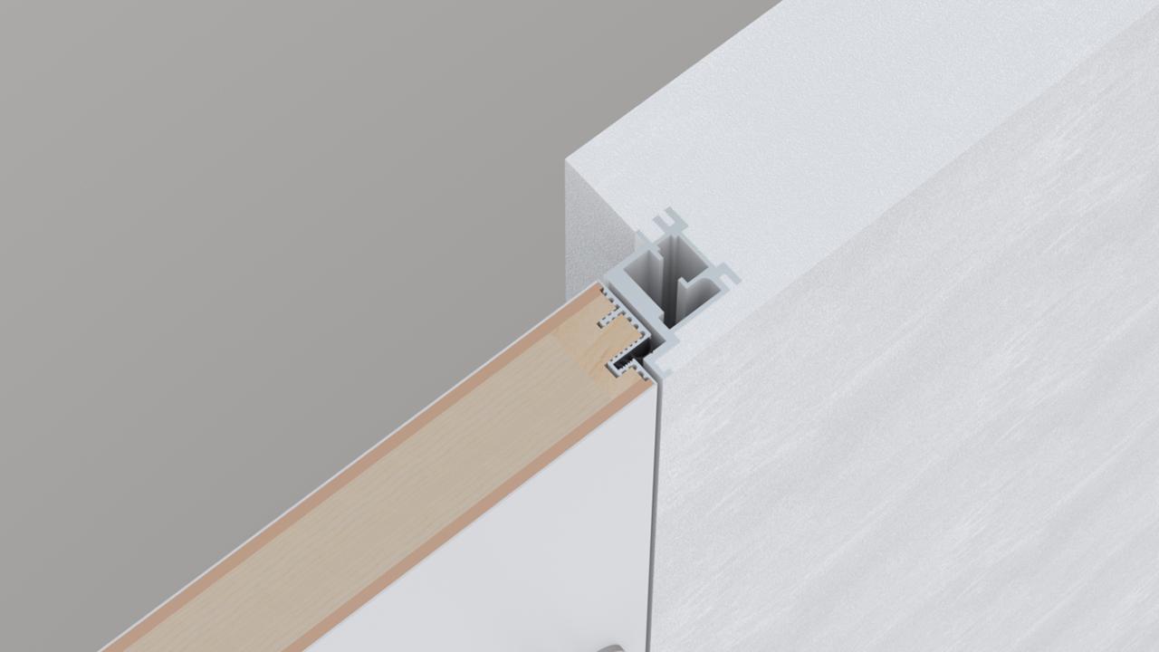 sezione del telaio di una porta filomuro